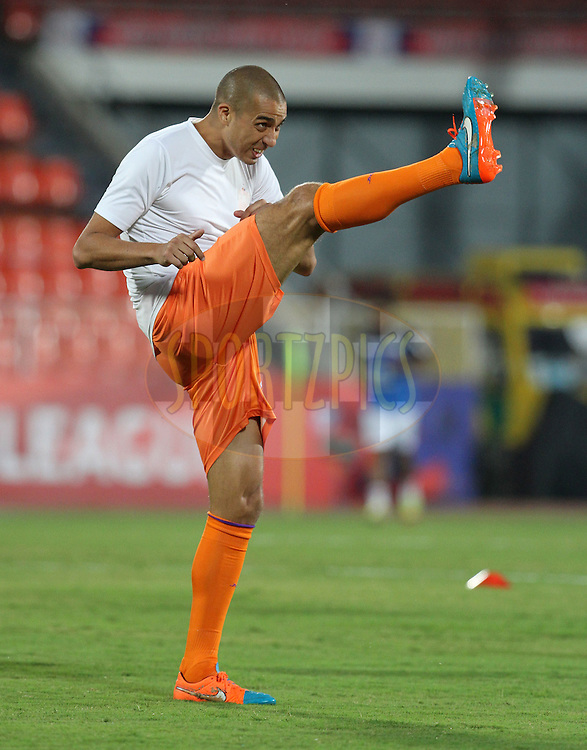 David Trezeguet of FC Pune City during the warm up session of match 17 of the Hero Indian Super League between FC Pune City and Kerala Blasters FC held at the Shree Shiv Chhatrapati Sports Complex Stadium, Pune, India on the 30th October 2014.<br /> <br /> Photo by:  Vipin Pawar/ ISL/ SPORTZPICS