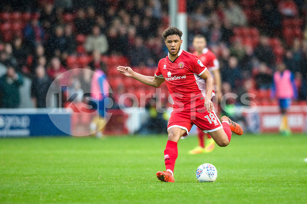 Tyler Roberts of Walsall in action during the EFL Sky Bet League 1 match between Walsall and Shrewsbury Town at the Banks's Stadium, Walsall, England on 7 October 2017. Photo by Darren Musgrove.