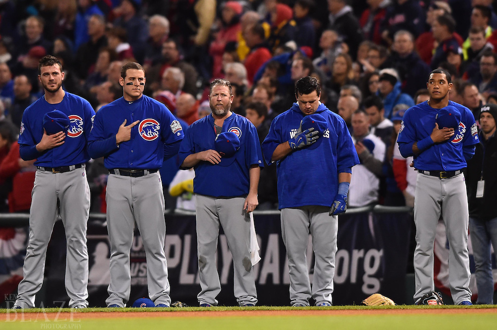 Oct 26, 2016; Cleveland, OH, USA; Chicago Cubs players and coaches stand for the national anthem before game two of the 2016 World Series against the Cleveland Indians at Progressive Field. Mandatory Credit: Ken Blaze-USA TODAY Sports
