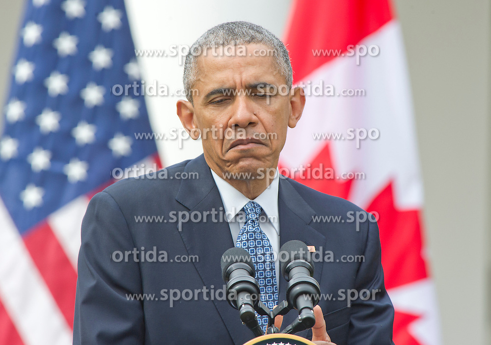 United States President Barack Obama holds a joint press conference with Prime Minister Justin Trudeau of Canada in the Rose Garden of the White House in Washington, DC on Thursday, March 10, 2016. EXPA Pictures &copy; 2016, PhotoCredit: EXPA/ Photoshot/ Ron Sachs<br /> <br /> *****ATTENTION - for AUT, SLO, CRO, SRB, BIH, MAZ, SUI only*****