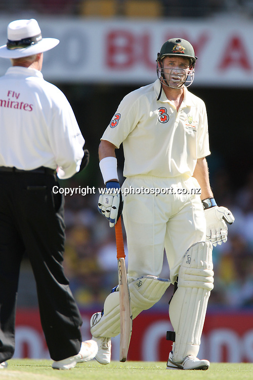 Mike Hussey questions the decision of umpire Rudi Koertzen during day 2 of the first test match between Australia and New Zealand at the Gabba. Brisbane, Australia. Friday 21 November 2008. Pic: Andrew Cornaga/PHOTOSPORT