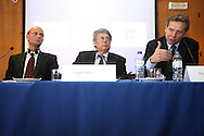 Rasmus Ruffer from the European Central Bank, left, European Union delegation leader Jurgen Kruger , center , and Poul Thomsen from the International Monetary Fund right attend a news conference in Lisbon May 5, 2011. The rate on the European Union bailout loan to Portugal will be decided at a mid-May meeting of finance ministers, but it could be slightly lower than that applied to Greece, EU mission head Kruger said on Thursday( Joao Henriques / 4SEE Photo )