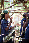 The Hot 8 Brass Band performs on the Woods Stage. Pickathon 2012 at Pendarvis Farm in Happy Valley, OR. Photo by Jason Quigley
