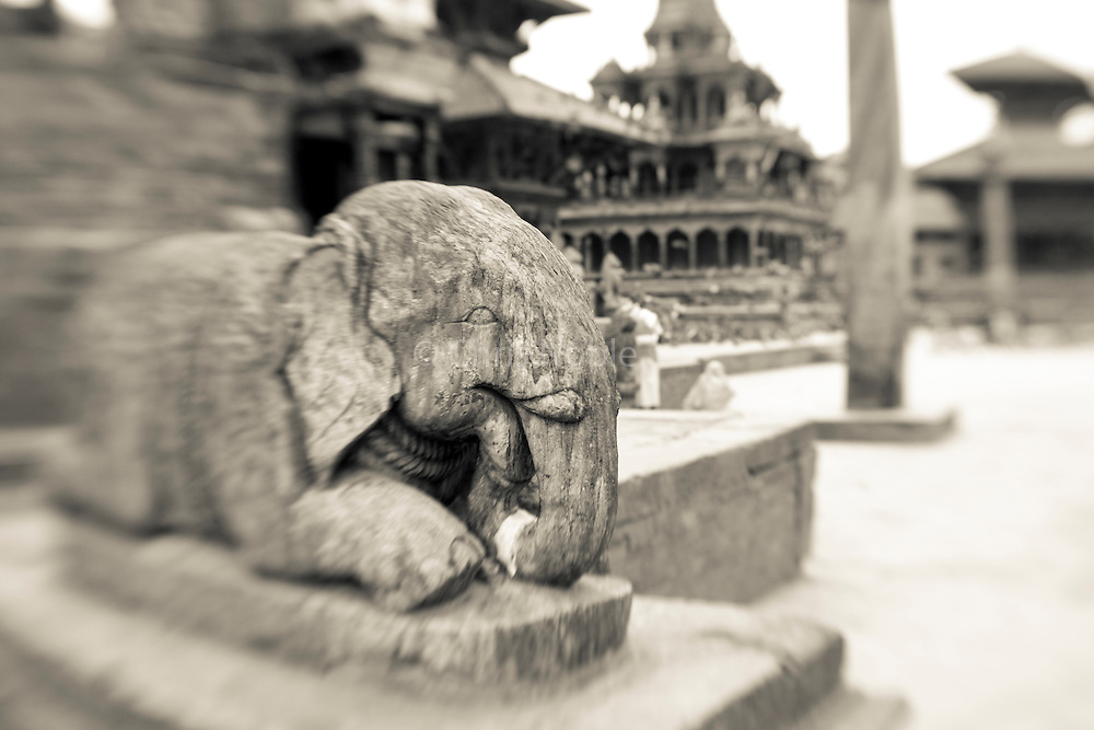 A statue of an elephant in Patan's Durbar Square, Kathmandu Nepal.