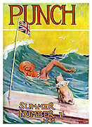 Punch Summer Number 1932 front cover (Mr Punch swimming in the sea with dog Toby sitting inn a board with the Union Jack attached)