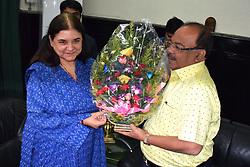 June 19, 2017 - Kolkata, West Bengal, India - Union Minister for Women and Child Development, Maneka Gandhi meets Kolkata Metropolitan Corporation's Mayor,  Sovan Chatterjee. (Credit Image: © Saikat Paul/Pacific Press via ZUMA Wire)
