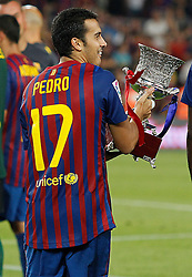 17.08.2011, Camp Nou, Barcelona, ESP, Supercup 2011, FC Barcelona vs Real Madrid, im Bild FC Barcelona's Pedro Rodriguez celebrate the victory during Spanish Supercup 2nd match.August 17,2011. EXPA Pictures © 2011, PhotoCredit: EXPA/ Alterphotos/ Acero +++++ ATTENTION - OUT OF SPAIN / ESP +++++