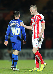Stoke City's Ryan Shawcross celebrates Stoke's fourth goal - Photo mandatory by-line: Matt McNulty/JMP - Mobile: 07966 386802 - 26/01/2015 - SPORT - Football - Rochdale - Spotland Stadium - Rochdale v Stoke City - FA Cup Fourth Round