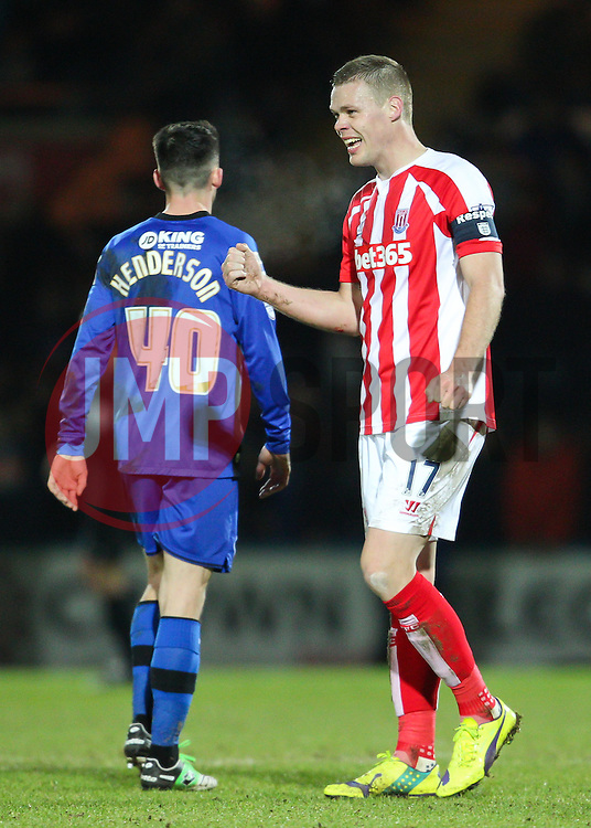 Stoke City's Ryan Shawcross celebrates Stoke's fourth goal - Photo mandatory by-line: Matt McNulty/JMP - Mobile: 07966 386802 - 26/01/2015 - SPORT - Football - Rochdale - Spotland Stadium - Rochdale v Stoke City - FA Cup Fourth Round