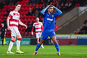AFC Wimbledon forward Kwesi Appiah (9) reacts during the The FA Cup match between Doncaster Rovers and AFC Wimbledon at the Keepmoat Stadium, Doncaster, England on 19 November 2019.