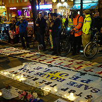 Vigil the dead of cyclist Jerome Roussell outside Islington Town Hall