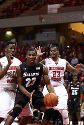25 February 2015:   John Jones, Bola Olaniyan and Deontae Hawkins during an NCAA MVC (Missouri Valley Conference) men's basketball game between the Southern Illinois Salukis and the Illinois State Redbirds at Redbird Arena in Normal Illinois