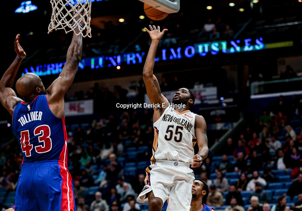 Jan 8, 2018; New Orleans, LA, USA; New Orleans Pelicans guard E'Twaun Moore (55) shoots over Detroit Pistons forward Anthony Tolliver (43) during the second half at the Smoothie King Center. The Pelicans defeated the Pistons 112-109. Mandatory Credit: Derick E. Hingle-USA TODAY Sports