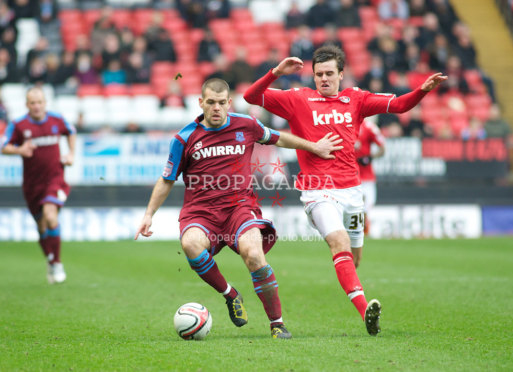 LONDON, ENGLAND - Saturday, March 5, 2011: Tranmere Rovers' John Welsh and Charlton Athletic's Carl Jenkinson in action during the Football League One match at The Valley. (Photo by Gareth Davies/Propaganda)