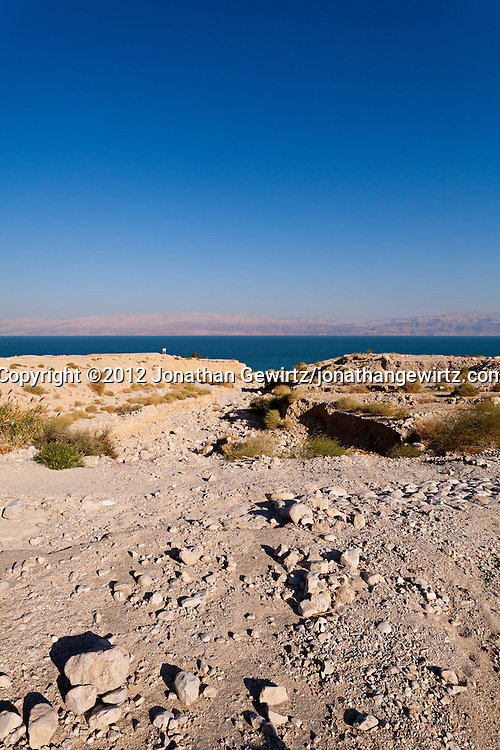 A flood-control spillway leading to a rocky beach on the western Dead Sea coast near Ein Gedi. WATERMARKS WILL NOT APPEAR ON PRINTS OR LICENSED IMAGES.