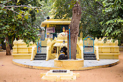 THIMMAMMA MARRIMANU, INDIA - 25th October 2019 - Hindu temple architecture at Thimmamma Marrimanu banyan tree - the world's largest single tree canopy. Andhra Pradesh, India.