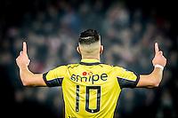 ROTTERDAM - Feyenoord - Vitesse , Voetbal , Eredivisie , Seizoen 2016/2017 , De Kuip , 16-12-2016 , Vitesse speler Adnane Tighadouini scoort de 1-1 en viert dit