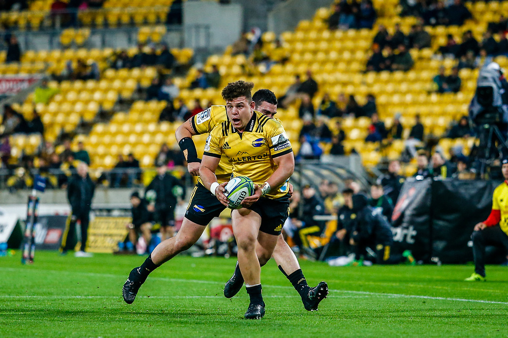 Ricky Riccitelli running with the ball during the Super rugby (Round 12) match played between Hurricanes  v Lions, at Westpac Stadium, Wellington, New Zealand, on 5 May 2018.  Hurricanes won 28-19.
