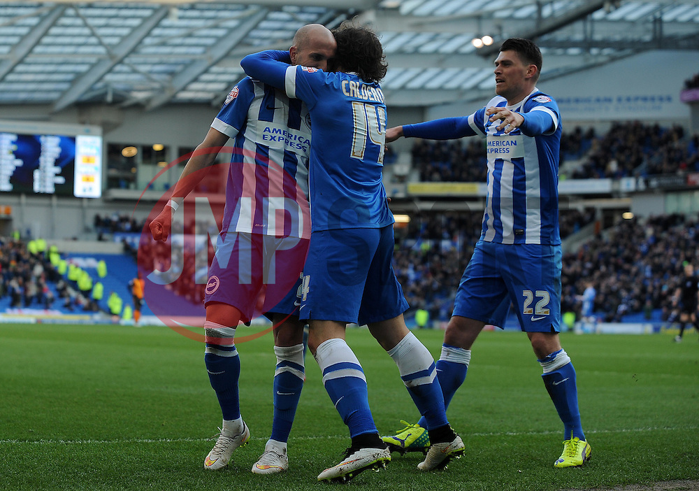 Brighton and Hove Albion's Bruno Saltor celebrates his sides goal . - Photo mandatory by-line: Harry Trump/JMP - Mobile: 07966 386802 - 14/03/15 - SPORT - Football - Sky Bet Championship - Brighton v Wolves - Amex Stadium, Brighton, England.