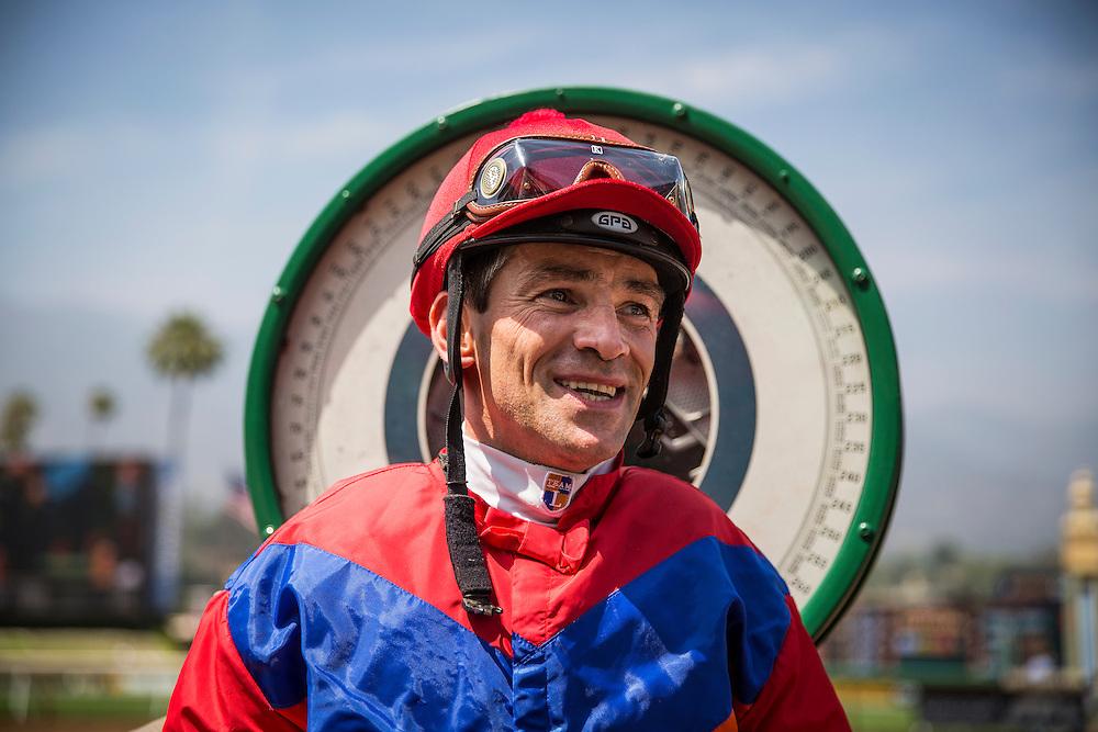 May 30 2015: Jockey, Brice Blanc after winning the American Oaks at Santa Anita Park in Arcadia CA. Alex Evers/ESW/CSM