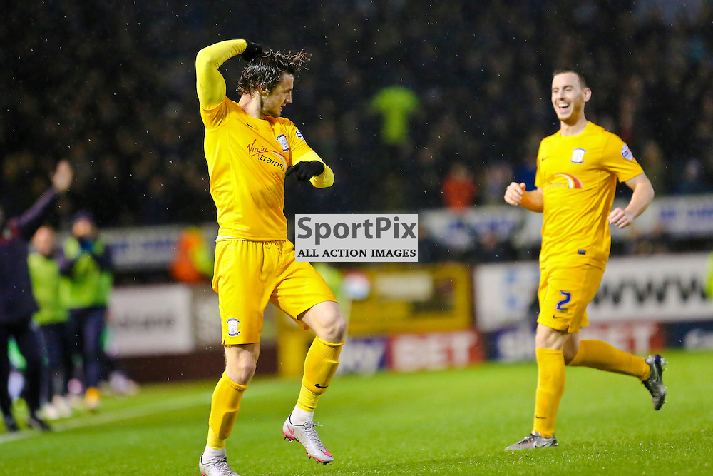 Will Keane of Preston North End celebrating scoring the first goal with Marnick Vermijl of Preston North End]during Burnley v Preston North End, Sky Bet Championship, 5th December 2015, (c) Jackie Meredith/SportPix.org.uk Tom Clarke of Preston North End