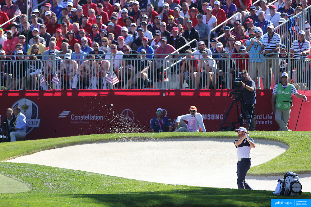 Ryder Cup 2016. Day Three. J.B. Holmes of the United States chips out of the sand trap on the fourth hole during the Sunday singles competition at  the Ryder Cup tournament at Hazeltine National Golf Club on October 02, 2016 in Chaska, Minnesota.  (Photo by Tim Clayton/Corbis via Getty Images)