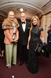 Left to right, TRH PRINCE & PRINCESS MICHAEL OF KENT and ALFIYA KUANYSHEVA at the Ave Maya Ballet gala in memory of Maya Plisetskava held at the English National Opera, St.Martin's Lane, London on 6th March 2016.