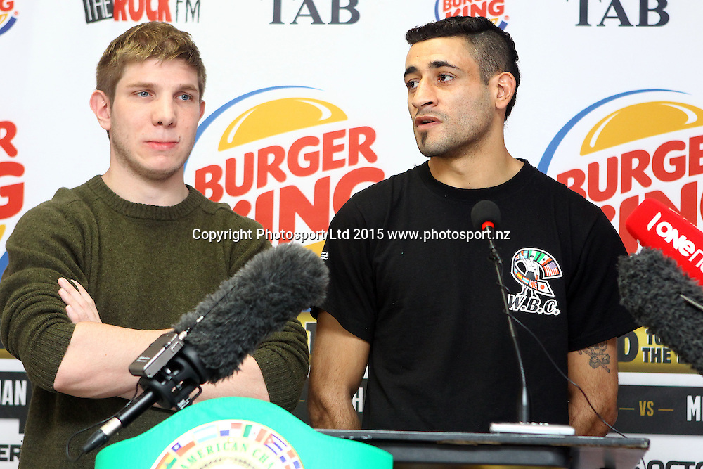 Alfredo Blanco, Burger King, Road to the Title press conference ahead of Thursdays boxing event. Burger king Lincoln Rd, Auckland. 13 October 2015. Copyright Photo: William Booth / www.photosport.nz