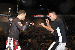 October 6, 2011; Houston, TX.; USA;  UFC Lightweight Champion Frankie Edgar works out for the media at the George R. Brown Convention Center in Houston, TX.