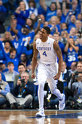 Kentucky guard Charles Matthews celebrates a basket in the first half.<br /> <br /> The University of Kentucky hosted the University of Georgia, Tuesday, Feb. 09, 2016 at Rupp Arena in Lexington .