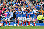 Portsmouth Players Celebrate Portsmouth Forward, Curtis Main (14) scores to make it 3-0 during the EFL Sky Bet League 2 match between Portsmouth and Crawley Town at Fratton Park, Portsmouth, England on 3 September 2016. Photo by Adam Rivers.