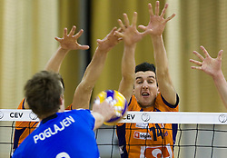 Players of ACH vs Cristian Imhoff of Knack Roeselare during volleyball match between ACH Volley (SLO) and Knack Roeselare (BEL) at Quarterfinals of CEV Challenge Cup 2011/2012, on February 8, 2012 in Arena Tivoli, Ljubljana, Slovenia. ACH Volley defeated Knack Roeselare 3-0. (Photo By Grega Valancic / Sportida.com)