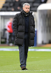 Chelsea Manager, Jose Mourinho pulls an expression on his face as he stands on the pitch at the liberty stadium.  - Photo mandatory by-line: Alex James/JMP - Mobile: 07966 386802 - 17/01/2015 - SPORT - football - Swansea - Liberty Stadium  - Swansea  v Chelsea  -