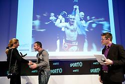 Janja Bozic Marolt with a trophy for Dejan Zavec as men best brand during Sporto  2010 Gala Dinner and Awards ceremony at Sports marketing and sponsorship conference, on November 29, 2010 in Hotel Slovenija, Portoroz/Portorose, Slovenia. (Photo By Vid Ponikvar / Sportida.com)
