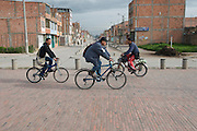 Morning commuters along the bikeway line in Patio Bonito - Bogota - Colombia