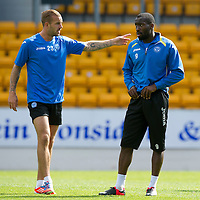 St Johnstone Training....23.08.12<br /> Striker's Gregory Tade and Rowan Vine pictured during training this morning.<br /> Picture by Graeme Hart.<br /> Copyright Perthshire Picture Agency<br /> Tel: 01738 623350  Mobile: 07990 594431