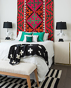 Eclectic decoration in a mid century modern bedroom with contrasting colors and interior design styles photographed for design showroom