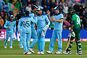 England win - Jonny Bairstow of England and his team mates celebrate beating Bangladesh by 106 runs during the ICC Cricket World Cup 2019 match between England and Bangladesh the Cardiff Wales Stadium at Sophia Gardens, Cardiff, Wales on 8 June 2019.