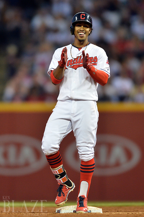 Sep 3, 2016; Cleveland, OH, USA; Cleveland Indians shortstop Francisco Lindor (12) claps his hands after hitting a double during the third inning against the Miami Marlins at Progressive Field. Mandatory Credit: Ken Blaze-USA TODAY Sports