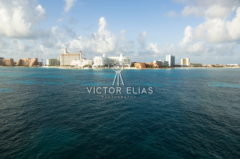 Aerial shot of hotel zone. Cancun, Quintana Roo, Mexico.