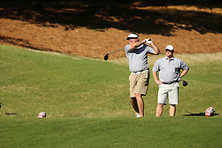 Georgia head football football coach Kirby Smart tees off during the Chick-fil-A Peach Bowl Challenge at the Ritz Carlton Reynolds, Lake Oconee, on Tuesday, April 30, 2019, in Greensboro, GA. (Chris Collins via Abell Images for Chick-fil-A Peach Bowl Challenge)