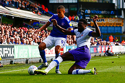 Emmanuel Monthe of Tranmere Rovers makes a tackle Kayden Jackson of Ipswich Town - Mandatory by-line: Phil Chaplin/JMP - 28/09/2019 - FOOTBALL - Portman Road - Ipswich, England - Ipswich Town v Tranmere Rovers - Sky Bet Championship