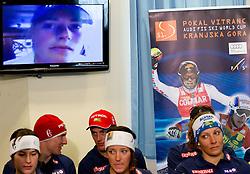 Tina Maza talks via videoconference during media day of Slovenian Alpine Ski team on October 17, 2011, in Rudno polje, Pokljuka, Slovenia. (Photo by Vid Ponikvar / Sportida)