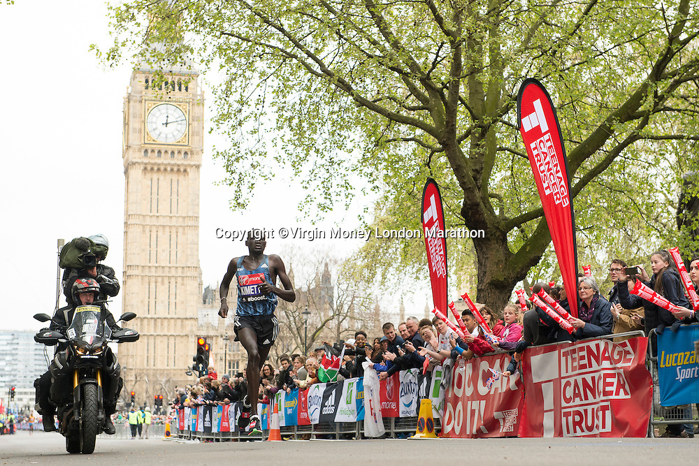 Dennis Kimetto (Ken) in Parliament Square at The Virgin Money London Marathon, Sunday 26th April 2015.<br /> <br /> Photo: Thomas Lovelock for Virgin Money London Marathon<br /> <br /> For more information please contact Penny Dain at pennyd@london-marathon.co.uk