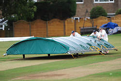 WELLINGBOROUGH PULL ON THE COVERS DURING HEAVY RAIN SHOWERS, Wellingborough Town CC v Finedon 3rds CC, Redwell Road Ground,  Saturday 20th August 2016<br /> Photo:Mike Capps