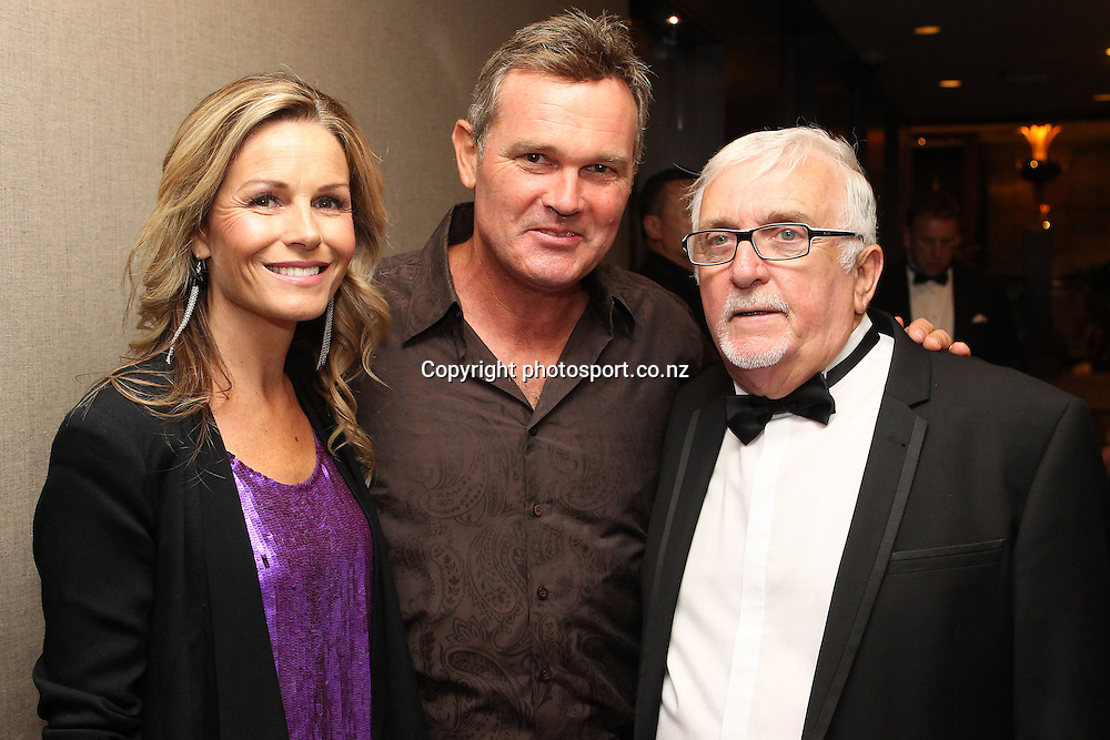 Lorraine Downes, Martin Crowe and Sir Peter Leitch at An Evening with Andre Agassi in support of GP2 motorsport athlete Mitch Evans Auckland, 24 January 2013 at The Langham. Photo: Fiona Goodall/photosport.co.nz