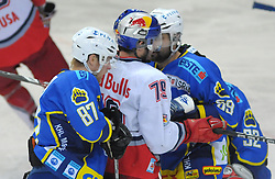 09.03.2010, Volksgarten, Salzburg, AUT, EBEL, EC Red Bull Salzburg vs KHL Medvescak Zagreb,  im Bild  Rok JAKOPIC, Brent AUBIN, Joel PRPIC, EXPA Pictures © 2010, PhotoCredit: EXPA/ M. Laux / SPORTIDA PHOTO AGENCY