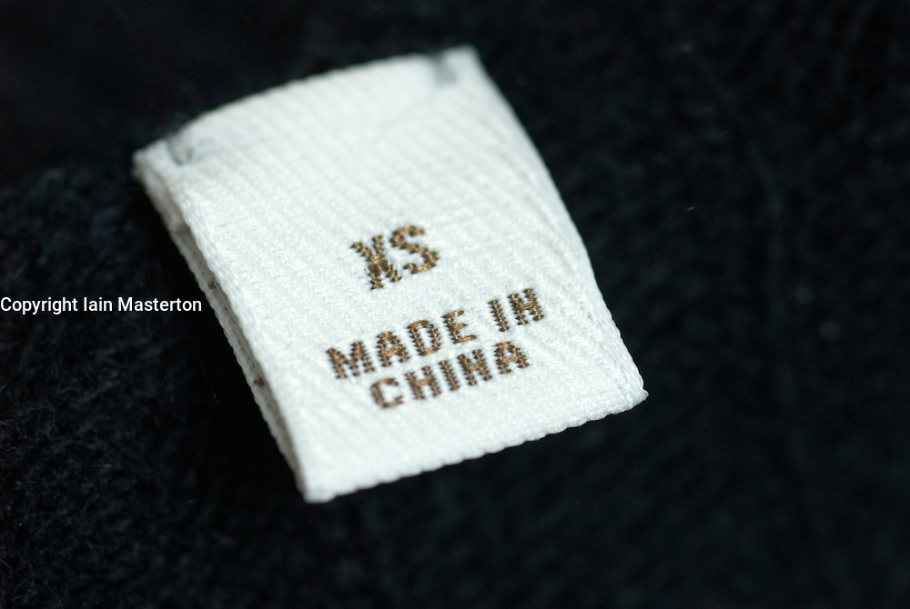 Detail of clothes label showing garment was Made in China