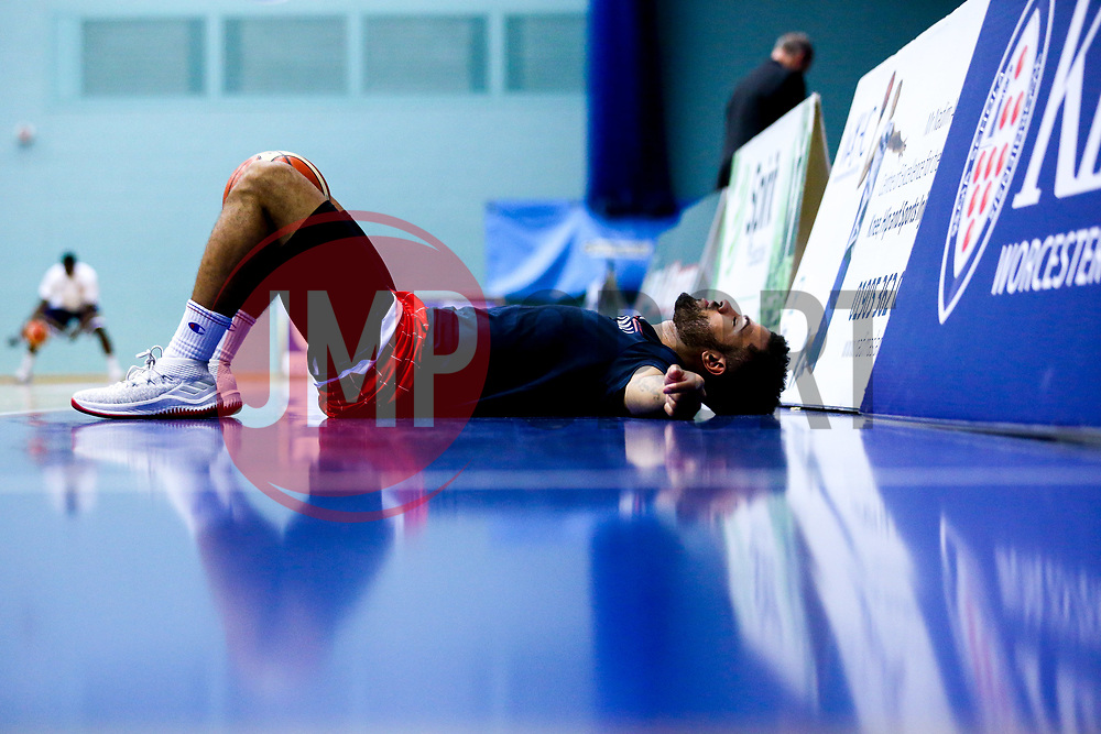 Marcus Delpeche of Bristol Flyers warms up - Mandatory by-line: Robbie Stephenson/JMP - 05/10/2018 - BASKETBALL - University of Worcester Arena - Worcester, England - Bristol Flyers v Worcester Wolves - British Basketball League