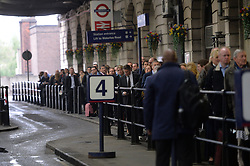 Pictured are commuters waiting to trace in taxi's at London's Waterloo Station after strikes by staff on London Underground.<br /> Tuesday, 29th April 2014. Picture by Ben Stevens / i-Images